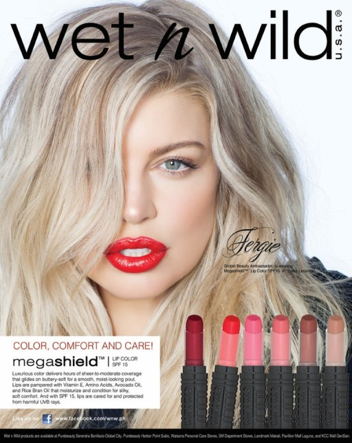 "Fergie as the NEWEST Global Beauty Ambassador of Wet n Wild, wearing ""Salsa Lessons"" Mega Shield Lip Color with SPF15."